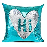 #2: Mahalaxmi Craft Stylish Sequin Mermaid Throw Pillow Cover with Magical Color Changing Reversible Paulette Design Decor Cushion Pillowcase - Sky Blue & Silver Pack of 1 (16X16)