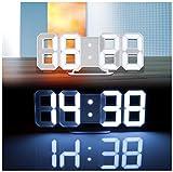 Lunartec LED Wanduhr 3D: Große Digital-LED-Tisch- & Wanduhr, 7 Segmente, dimmbar, Wecker, 21 cm (Leuchtuhr)