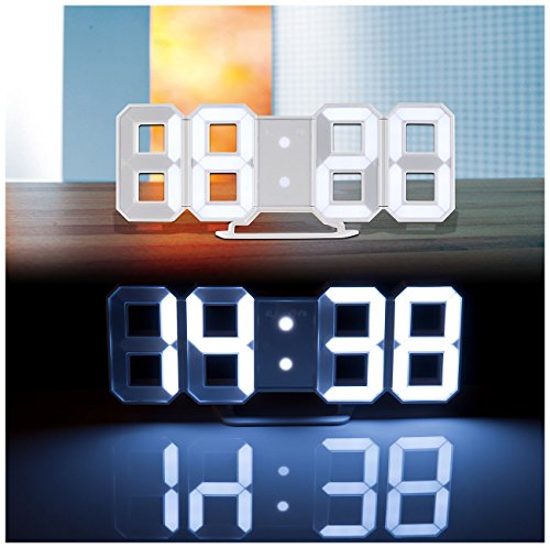 Lunartec LED Wanduhr 3D: Große Digital-LED-Tisch- & Wanduhr, 7 Segmente, dimmbar, Wecker, 21 cm (LED Tischuhr)