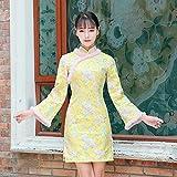 Nalkusxi Hiver Haute qualité Jacquard Fourrure de Lapin Double Couche améliorée Cheongsam Robe Courte Fille Robe à Neuf Points Cheongsam (Color : Yellow, Size : L)