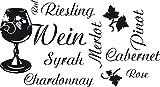 GRAZDesign Geschenk Frau Geburtstag Weinblätter - Sprüche Wandtattoo Winzer - Wandtattoo Küche günstig Sprüche - Wandtattoo Küche Wein Sorten / 55x30cm / schwarz / 620188_30_070