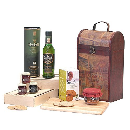 The Premium Clarendon Vintage Wooden Wine Chest Hamper with 350ml Glenfiddich 12 Year Old Single Malt Scotch Whisky -Gift ideas for � Christmas,Fathers Day,Mothers Day,Valentines,presents,birthday,men,him,dad,her,mum,thank you,wedding anniversary,engageme