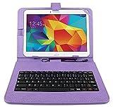 Etui violet + clavier intégré AZERTY pour Samsung Galaxy Tab 4 (SM-T530/T533), Tab A 9,7' (T550) et Tab A 10.1 (2016) T580 tablettes 10.1' - stylet tactile BONUS + Garantie DURAGADGET de 2 ans