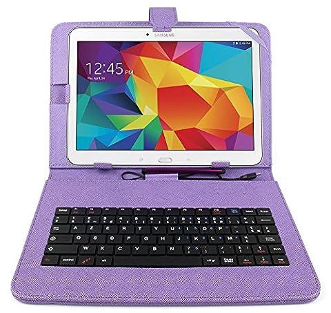 Etui violet + clavier intégré AZERTY pour Samsung Galaxy Tab 4 (SM-T530/T533), Tab A 9,7