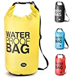 Bolsa Estanca Bolsa Seca Dry Bag Impermeable para Kayak Canotaje Pesca, Rafting Snowboarding Cámping Al aire libre - tamaño opcional y Color garantizar frío-clima confort-10L/20L (Amarillo, 10L)
