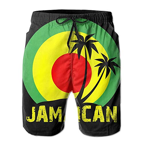fdgjfghjdfj Coconut Tree Reggae Color Jamaican Men's Tropical Quick Dry Board Shorts Bathing Suits Swimwear Volley Beach TrunksL -