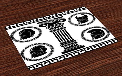 ABAKUHAUS Toga-Party Platzmatten, Gemusterte Circular Frames mit antiken Accessoires Spartan Classic Kostüm, Tiscjdeco aus Farbfesten Stoff für das Esszimmer und Küch, Weiß und Schwarz