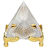 Saubhagya Global Vastu/Feng Shui Crystal Glass Pyramid With Golden Stand For Spiritual Healing, Vastu Correction And Balancing -5 Cm