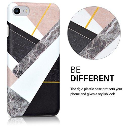 kwmobile Hülle für Apple iPhone 7 / 8 - Backcover Case Handy Schutzhülle Kunststoff - Hardcase Cover Schwarz Marmor Mix Schwarz Weiß Beige