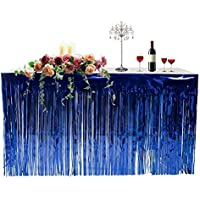 Juan Metallic Foil Fringe Table Skirt Curtain, Banner Tinsel Party Table Cover Holiday Supplies Hawaiian Decoration for Festival Christmas Party