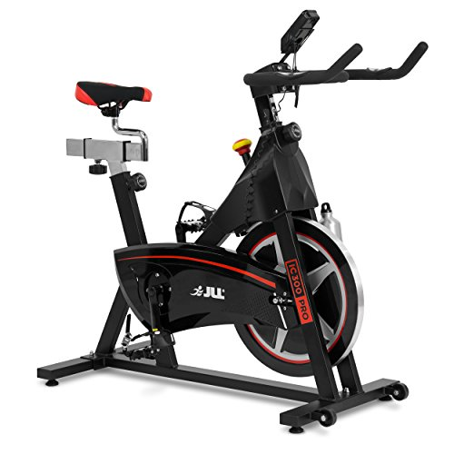 JLL IC300 PRO Indoor Cycling Exercise Bike, Direct Belt Driven 20kg Flywheel with Adjustable Magnetic Resistance, 3-Piece Crank, 7-Function Monitor, Emergency Stop System, Ergonomic Handlebars with Heart Rate Sensors, Fully Adjustable Seat, Built In Wheels, 12 Months Home Use Warranty Only