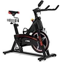 JLL IC300 PRO Indoor Cycling Exercise Bike, Direct Belt Driven 20kg Flywheel with Adjustable Magnetic Resistance, 3-Piece Crank, 6-Function Monitor, Emergency Stop System, Ergonomic Handlebars with Heart Rate Sensors, Fully Adjustable Seat, Built In Wheels, 12 Months Home Use Warranty Only