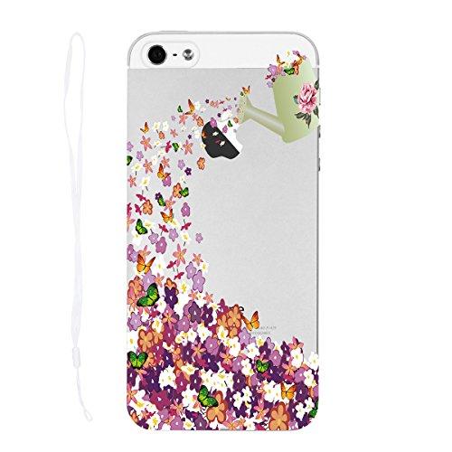 HB-Int Schutzhülle für iPhone SE / 5S / 5 Transparent Hülle mit Katze Blumen Muster Durchsichtig Handytasche Weiche TPU Rahmen mit Hart PC Rückseite 3D Kreative Bumper Case Flexible Cover + Handschlau Blume
