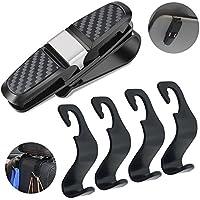 FineGood - Soporte para gafas de sol para coche, con 4 ganchos para reposacabezas de asiento trasero y gafas de sol, con clip para tarjeta de billete y gancho para colgar en el bolso de la bolsa de alimentos, color negro