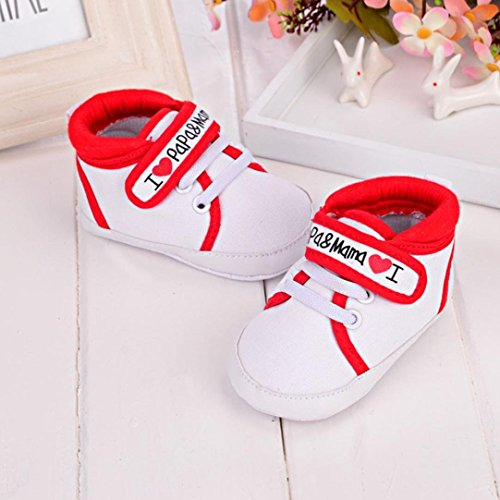 Fulltime®Chaussures bébé fille douce Sole Canvas Sneaker Toddler Rouge