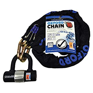 Oxford 10 Square Link Chain with Double Locking Padlock, Black, 1.4 x 10 mm