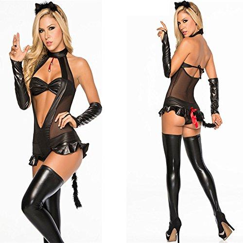 DLucc Banknoten Katzenmädchen Kostüme Nacht DS führen Tänzerin Kleidung Katze Kostüm Little Devil Thema-Partei