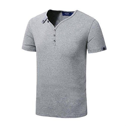 AIYINO Herren T-Shirt mit V-Ausschnitt Kontrast 100% Baumwolle Casual Cardigan Anthrazit