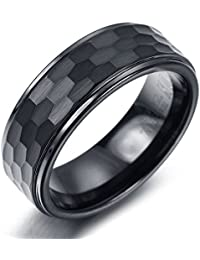 K Mega Jewelry 8MM Tungsten Cool Black Mens Ring KR0661