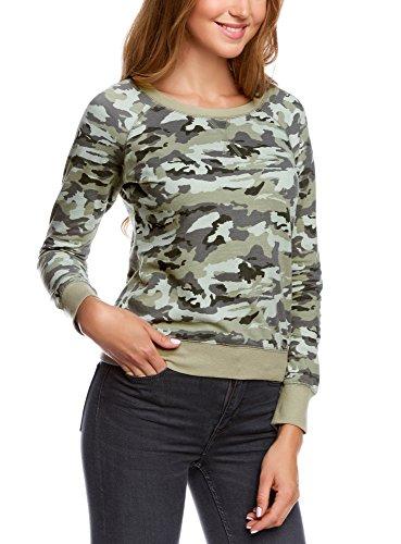 oodji Ultra Damen Sweatshirt mit Military-Druck, Grün, DE 40 / EU 42 / L
