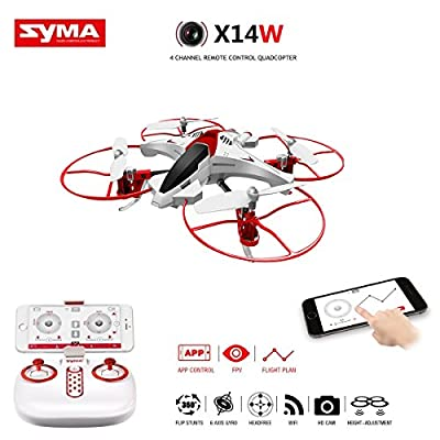 Syma X14W FPV Drone with Built-in Camera HD Live Video Headless Mode 2.4G 4CH 6 Axis Gyro RC Quadcopter with Altitude Hold,One Touch Fly,Gravity Sensor Function