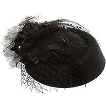 Fascinator De La Pluma Negro Sombrero Pastillero Arco De Flores Clip De La Joyería Pin Tocado