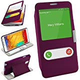 Bolso OneFlow para funda Samsung Galaxy Note 3 Cubierta con ventana | Estuche Flip Case Funda móvil plegable | Bolso móvil funda protectora accesorios móvil protección paragolpes en Indego-Violet