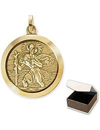 Clever joyas dorado grande colgante redondo 24mm de diámetro Santo Christo pherus 333Oro 8quilates en estuche