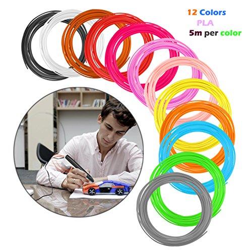 Filament de Stylo 3D PLA 1,75mm 12 Pack, Recharge de Stylo 3D 5M par Paquet, 60M au Total 3d Pen Filament Stylo 3d Doodle DIY Scribbler