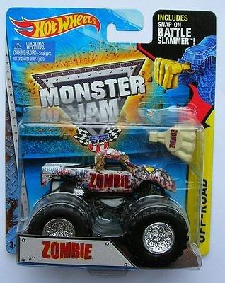 Zombie #11 2015 Hot Wheels Monster Jam Monster Truck Includes Snap-on Battle Slammer 1:64 Scale