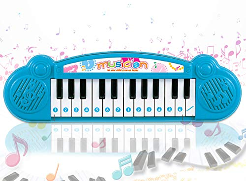 Popsugar Mini Musical Keyboard with 24 Keys for Kids, Blue