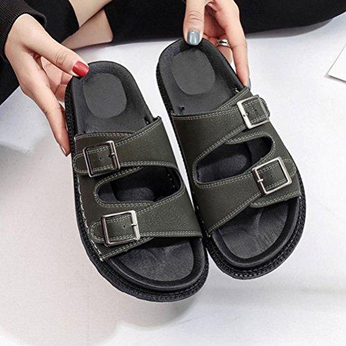 Transer® Damen Flach Plattform Slipper Kunstleder+Kunststoff Monk-strap Schwarz Grün Grau Hausschuhe mit Knopf Gr.35-40 Grün