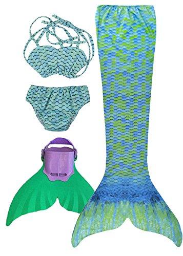 SPEEDEVE Mädchen Meerjungfrauenschwanz Zum Schwimmen mit Meerjungfrau Flosse, 12 (130-140cm), Wasser Grn