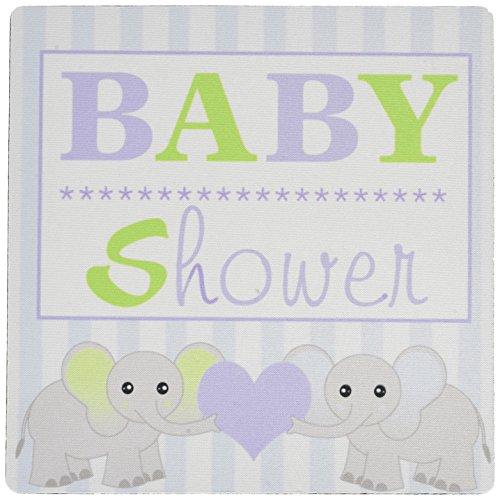 3drose LLC 20,3x 20,3x 0,6cm Baby Dusche, niedlichen Twin Elefanten Maus Pad, Grün und Blau (MP _ 57086_ - Elefanten-dusche