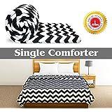 Divine Casa 110 GSM Microfiber Summer Single Size Reversible Printed Comforter for AC Room & Mild Winter (Zig Zag, White and Black)