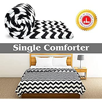 Divine Casa Luxor Abstract Microfibre Single Comforter - Zig Zag Black (110 GSM)