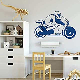 Personalised Motorbike Wall Sticker - Wall Art Vinyl Decoration for Home & Bedroom - Add Name or Text - Free UK Delivery