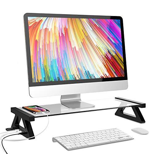 Monitorständer Riser, Fy-Light Desktop-Ständer aus gehärtetem Glas mit 4 USB-Anschlüssen für Monitor-Laptop-Computer-TV -