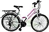 KRON 24 Zoll Mädchenfahrrad Damenfahrrad Kinderfahrrad RH ca 42cm City Bike Weiss Pink NEU