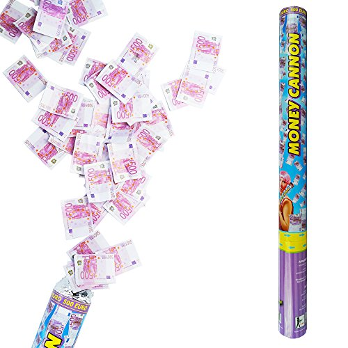 Konfettikanone Money 60 cm - Konfetti Shooter Kanone Party Popper Regen (Bunte Euro-schein)