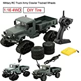 ❤️ Remote Control Car, 1:16 4WD Military Truck Army Tracked Wheels Crawler Off-Road Car RTR Toys Gift For Kids Adults By GreatestPAK (Green)