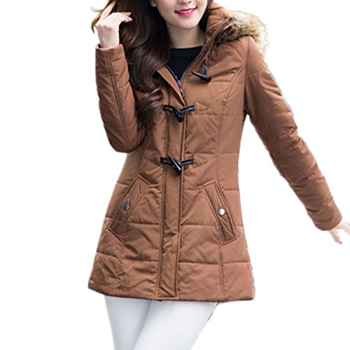 MS VASSA Damen Winterjacke mit Abnehmbaren Kunstpelz Warmen Mantel Brown 1eece6726f