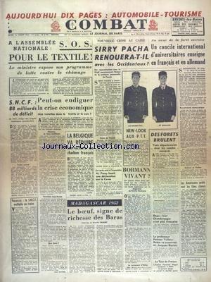COMBAT [No 2486] du 01/07/1952 - MADAGAS...