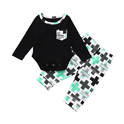 Vovotrade 2pcs Toddler Baby Boys vestiti a maniche lunghe Set stampa Tops +  Pantaloni Abiti 4c92704d95d7