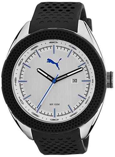 Puma Octane Men's Quartz Watch with Silver Dial Analogue Display and Black Silicone Strap PU103261005