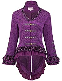 Belle Poque® Retro Gothic Victorian Corset Jacquard Tailcoat Lace Embellished Jacket