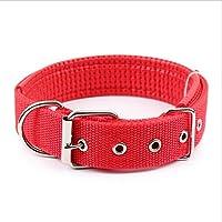 Ecloud Shop Duradero y cómodo para mascotas collar de perro sólido clásico collar de perro de nylon poliéster básico 2.5 * 55cm Rojo