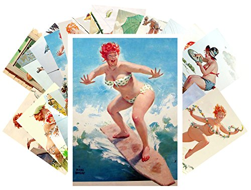 pinup-tarjeta-postale-24pcs-chubby-sexy-girl-redhead-hilda-vintage-illustrations