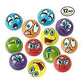 Stress Bälle 12 PCS Anti Stressball 6.3cm Emoji squeezy Bälle Smilies squishy Ball (6 Farben)