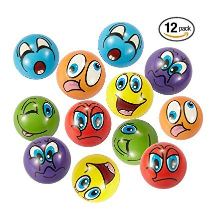 Stress Bälle 12 PCS Anti Stressball 6.3cm Emoji squeezy Bälle Smilies squishy Ball (6 Farben) (Viel Stress-ball)